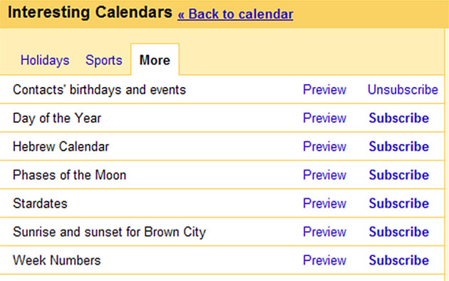 events from contact on calendar